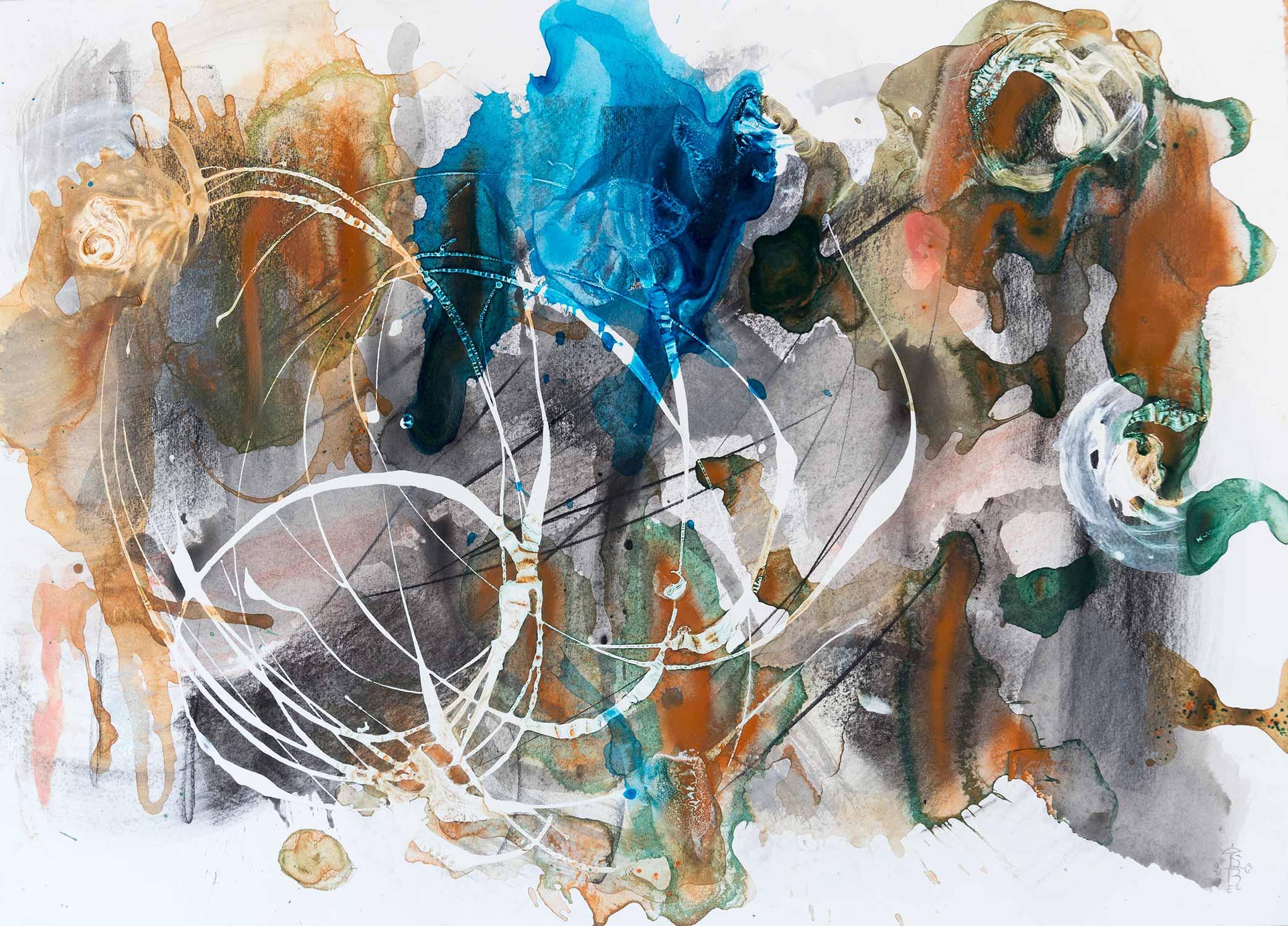 <b>Chillido</b><br> Técnica mixta sobre papel Guarro<br> 55 x 77 cm