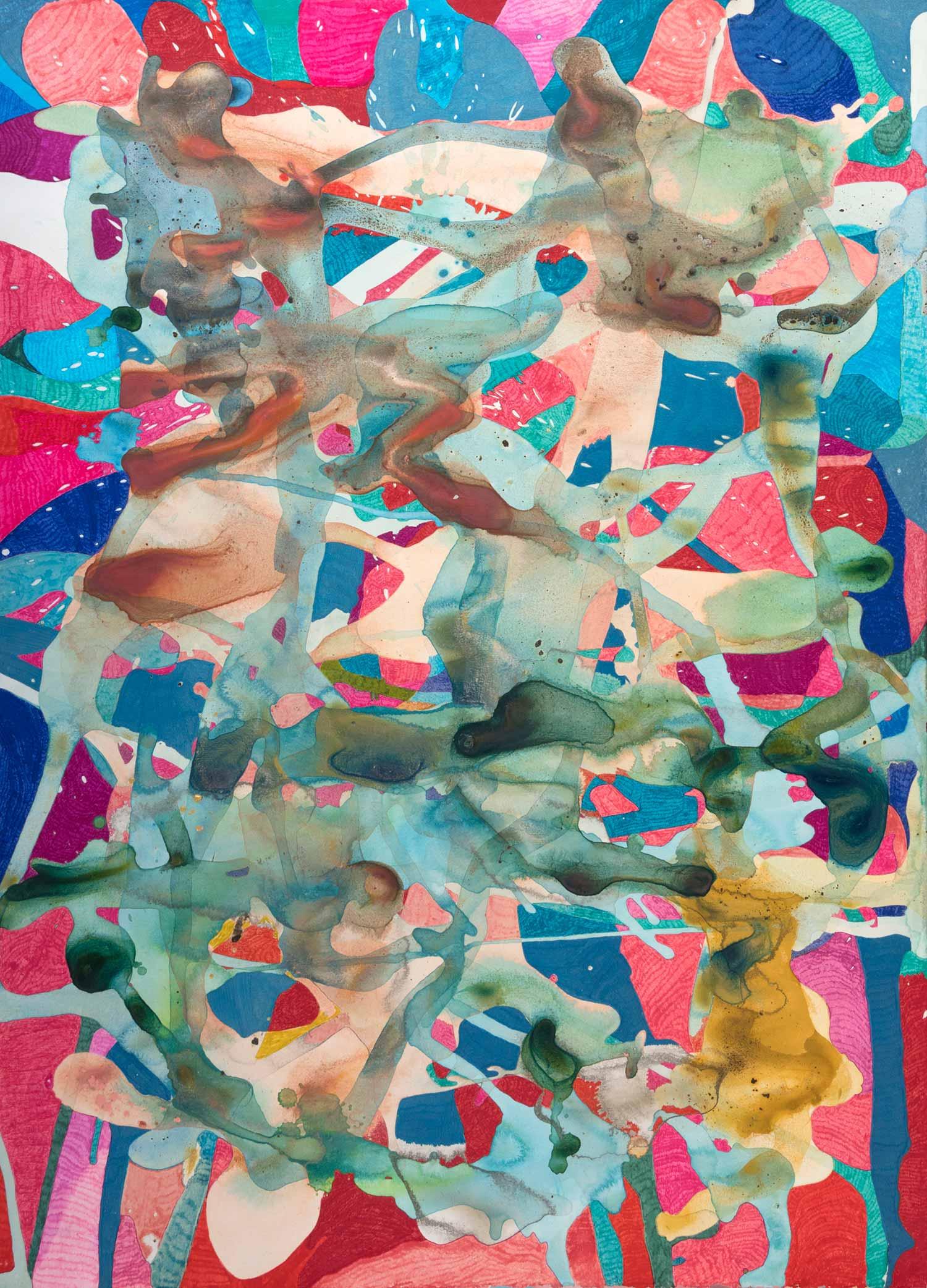 <b>Cloudy</b><br> Acrílico y rotulador sobre papel<br> 76 x 19 cm (2015)