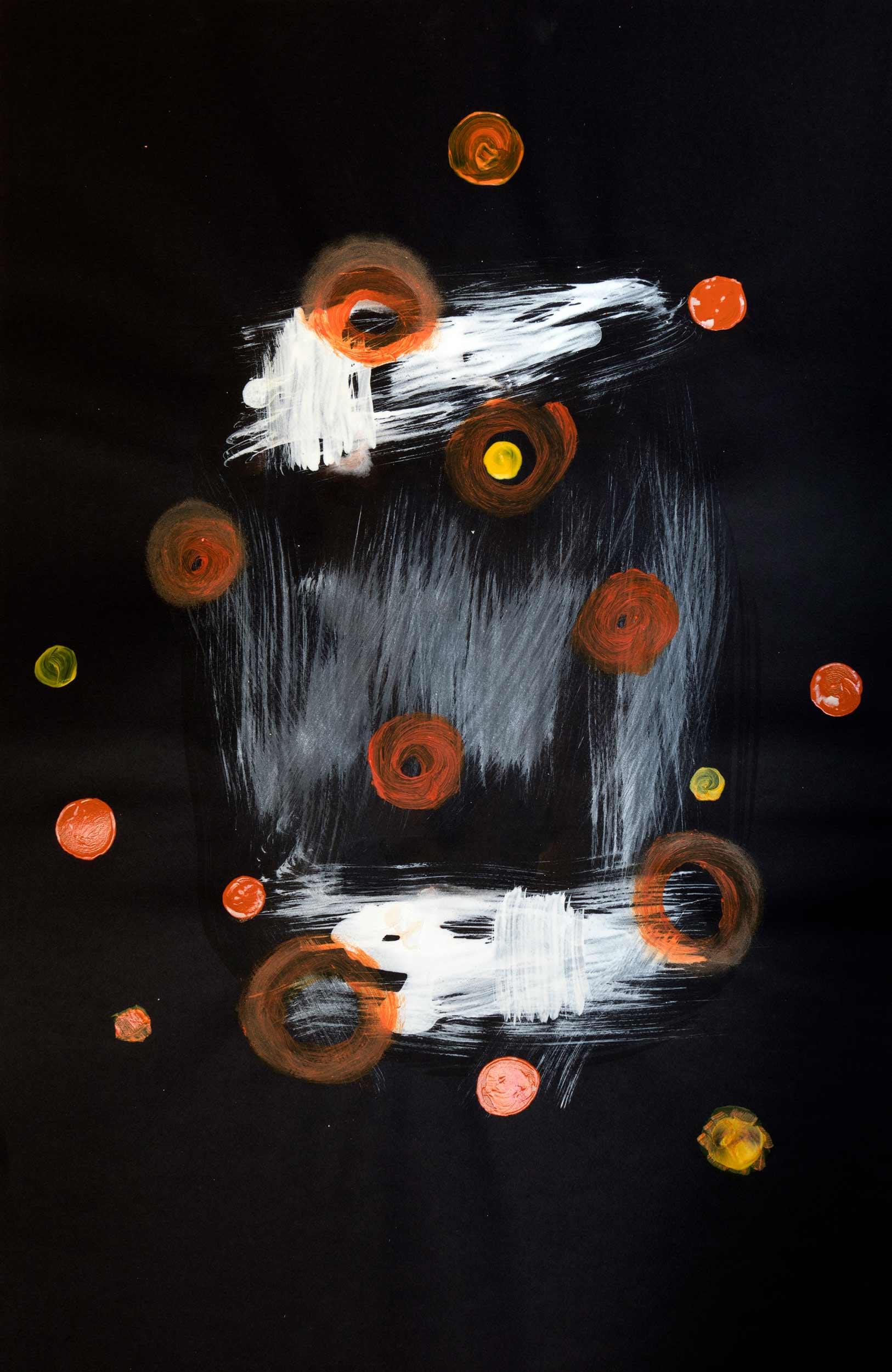 <b>Darkness IV</b><br> Acrílico sobre cartulina<br> 65 x 100 cm