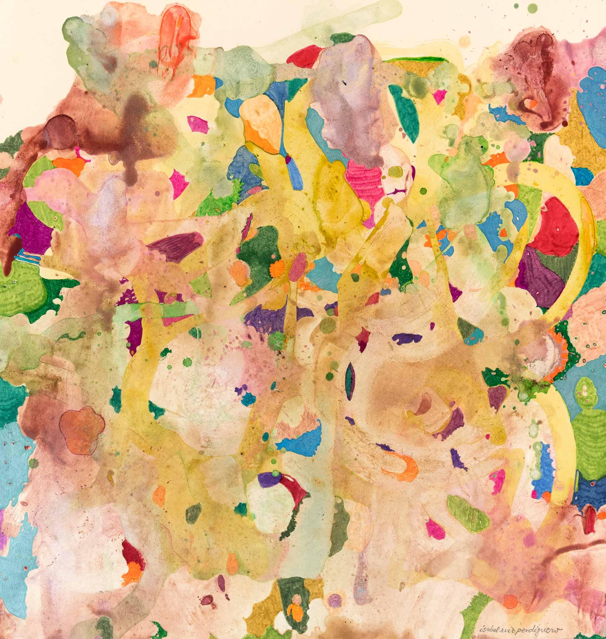 <b>Encuentros</b><br> Técnica mixta sobre cartulina<br> 44 x 42 cm