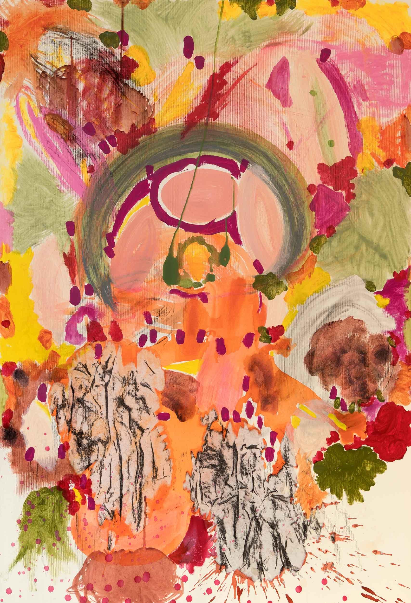 <b>Jam II</b><br> Acrílico y collage sobre cartulina. <br> 100 x 70 cm