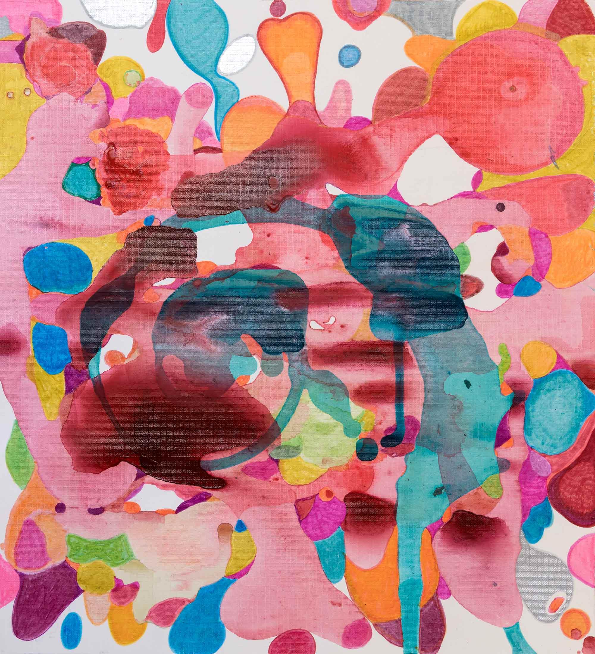 <b>Red</b><br> Técnica mixta sobre papel. <br> 30,5 x 34,5 cm