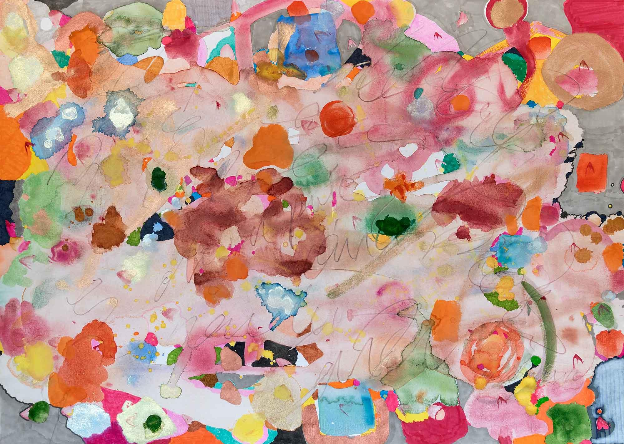 <b>Speachless</b><br> Acuarela, rotuladores, grafito sobre papel  Ingres <br> 49,5 x 69,5 cm